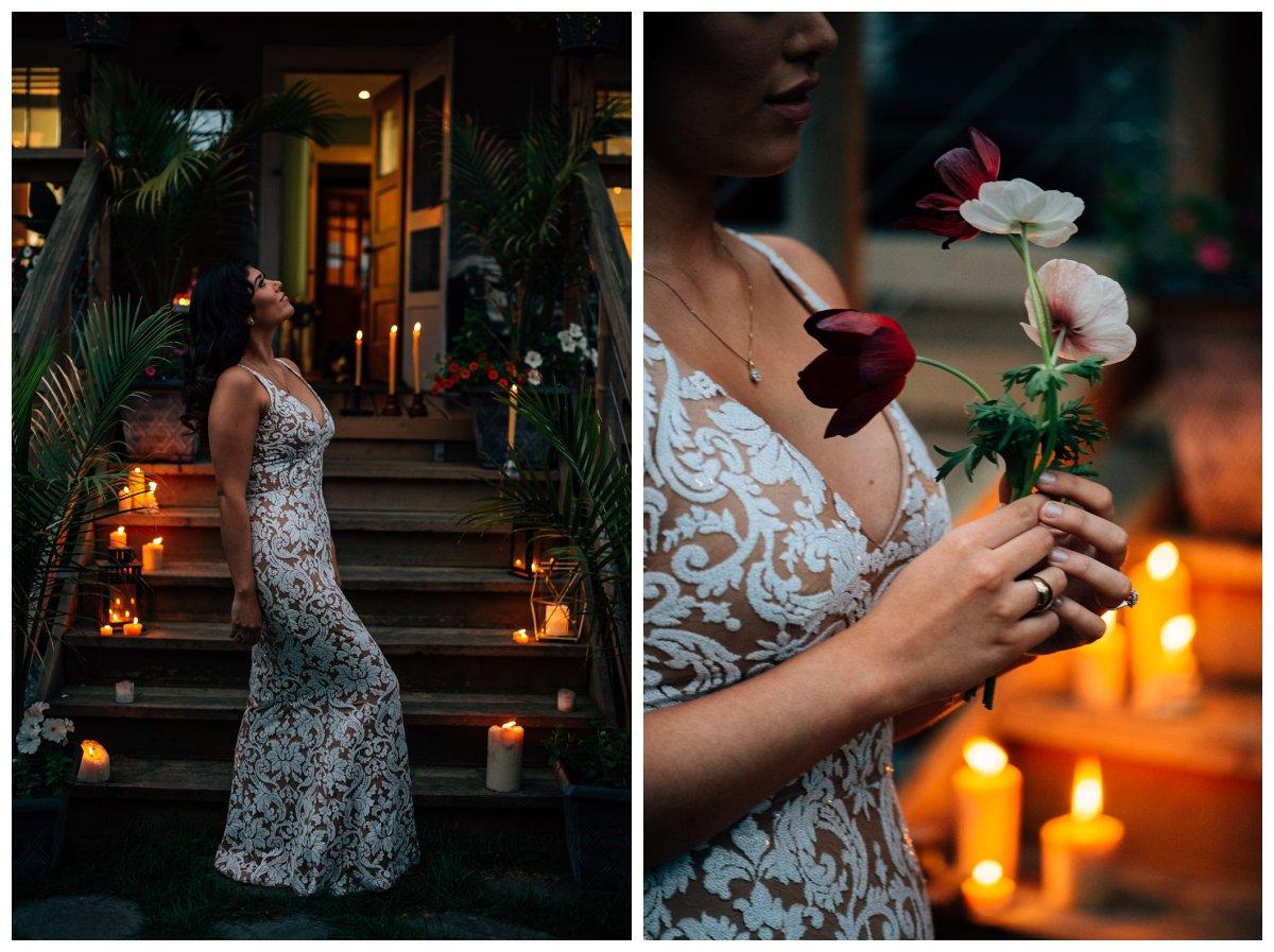 candlelit bridal photos