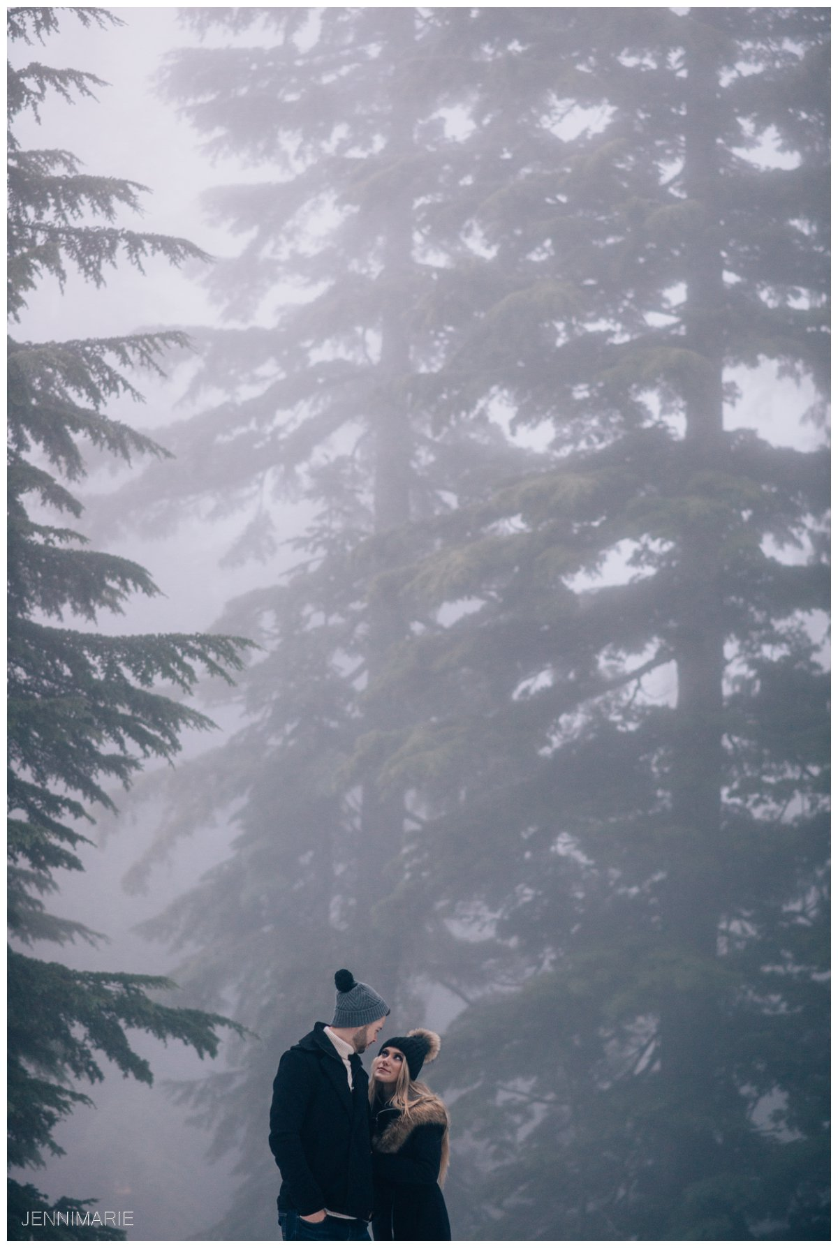 Grouse Mountain Engagement Photos in the Fog