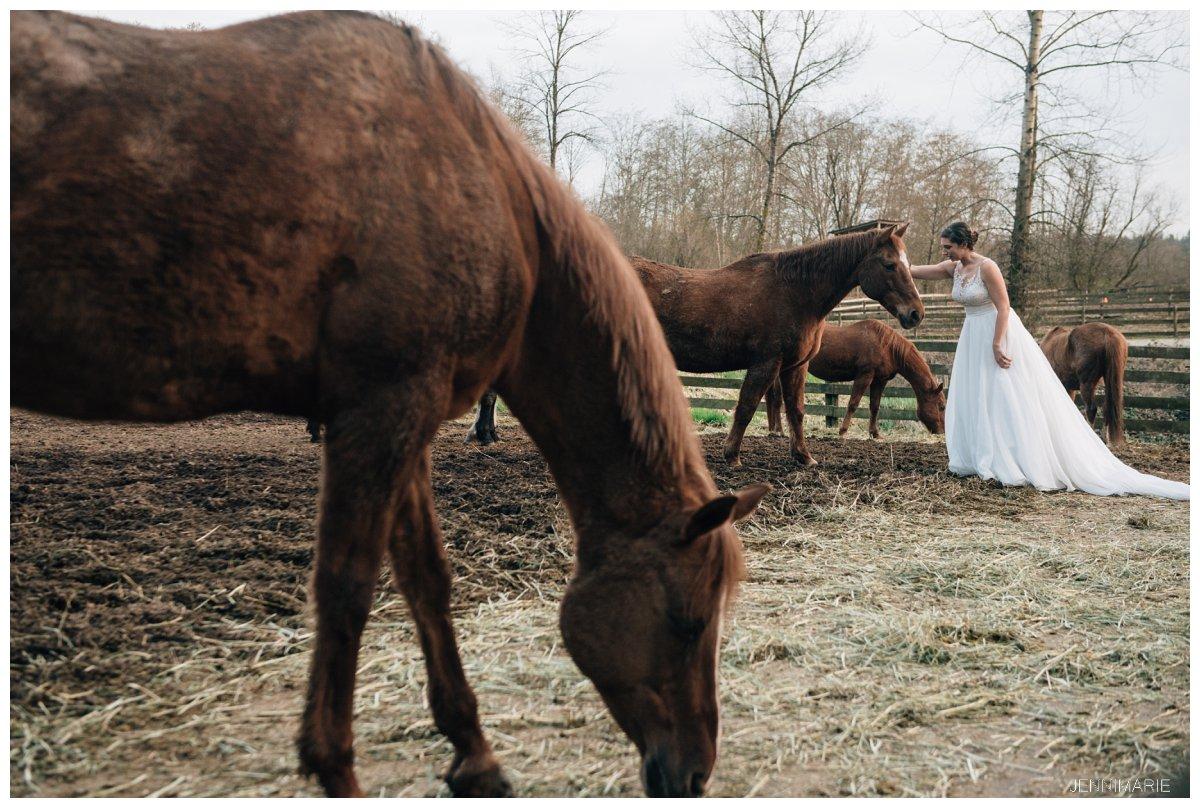 horse farm bridal portraits