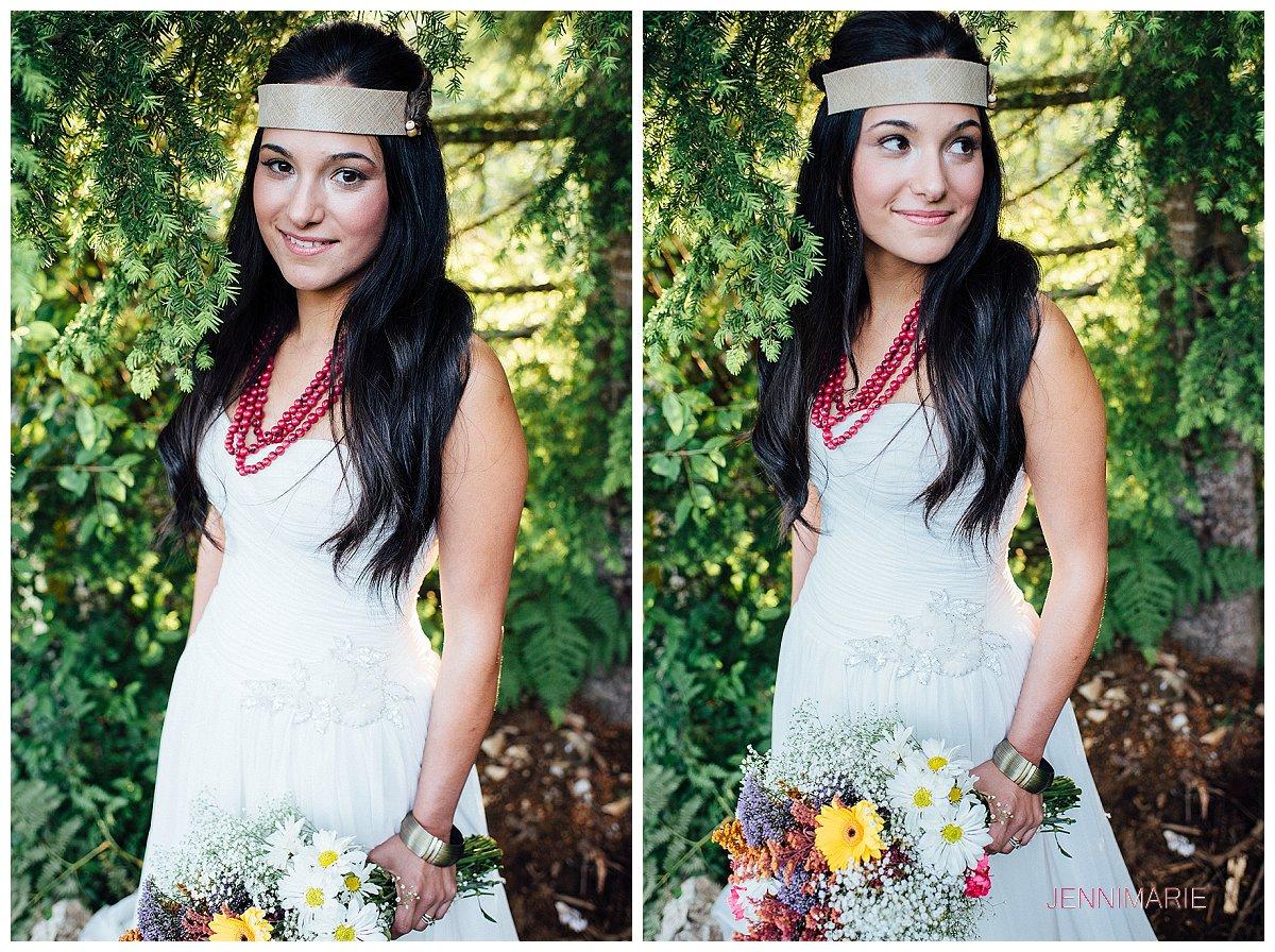 Sumas Mountain Bridal Portrait with bohemian headpiece