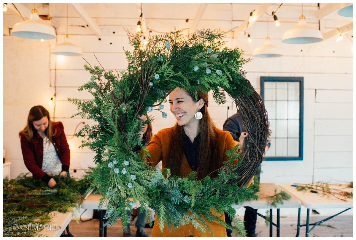 wreath making workshop at Sophie's Flower Shop