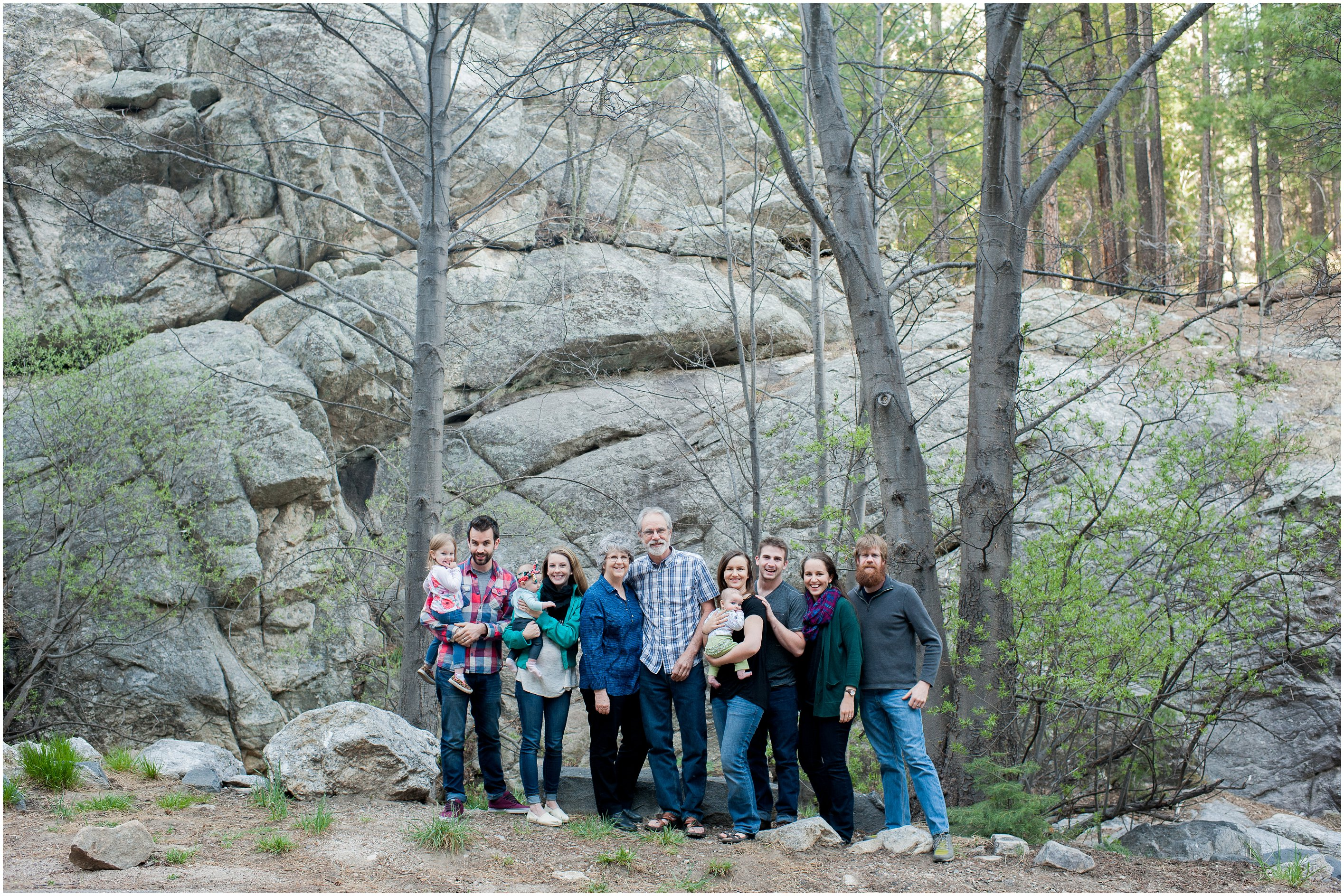 extended family portrait on Mount Lemmon