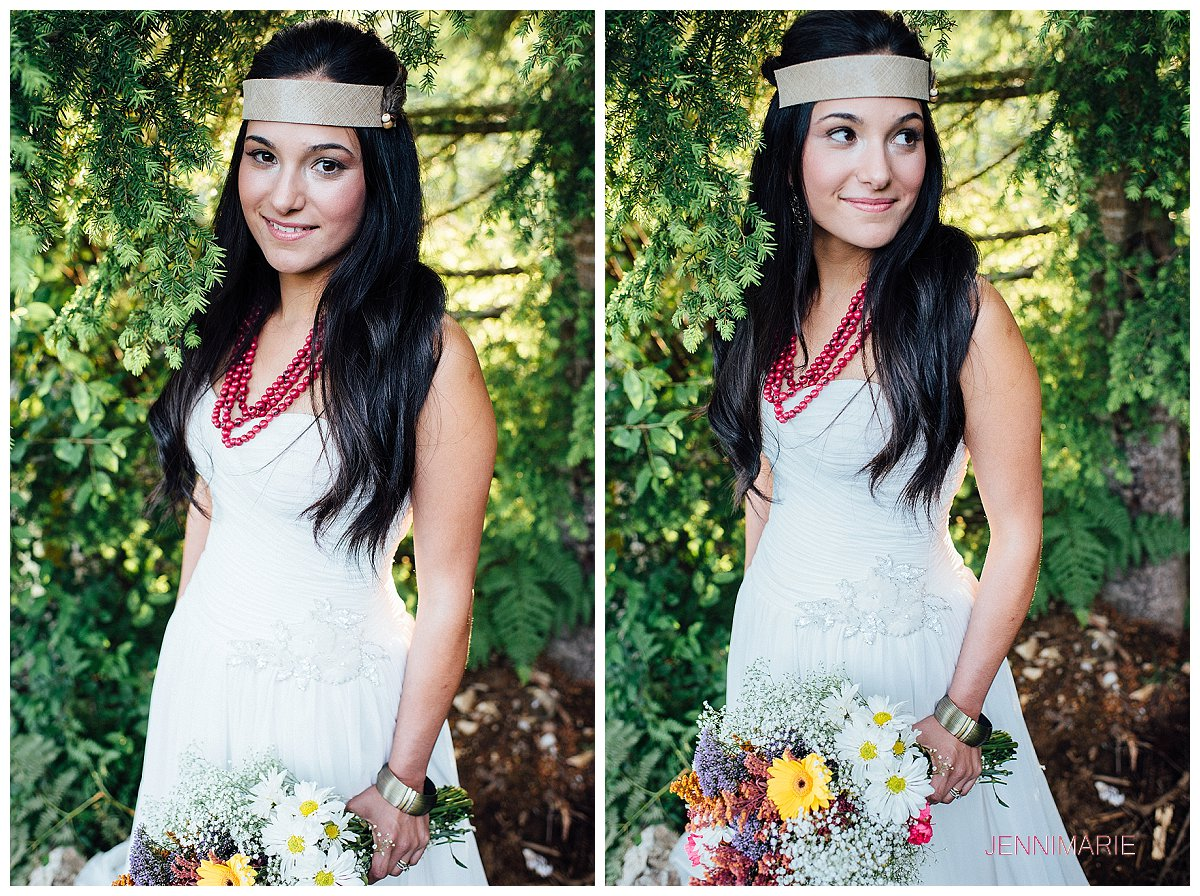 Sumas Mountain Bridal Portrait with bohemian headpiece